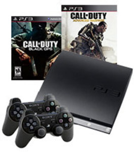 PS3 160GB Console w/ 2 Wireless Controllers + COD Black Ops + COD Advanced Warfare (Pre-owned)