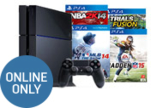 PlayStation 4 Console + NBA 2K14 + Madden 15 + MLB 14 + Trials Fusion (Pre-owned)