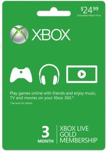 Xbox 360 Live 3 Month Gold Subscription Card