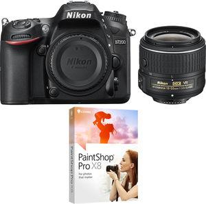 Nikon D7200 24.2MP Digital SLR Camera (Refurbished) + 18-55mm Lens + Paintshop Pro X8