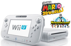 Wii U 32GB Deluxe Console (White) + Mario 3D World + Nintendo Land (Refurbished)