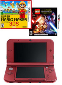 Nintendo New 3DS XL Red  (Refurbished) + Super Mario Maker + LEGO Star Wars Force Awakens