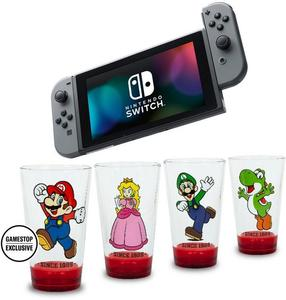 Nintendo Switch (Gray Joy-Con) + Mario Glassware Bundle