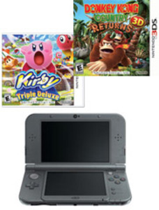 New Nintendo 3DS XL Black (Refurbished) + Donkey Kong Country Returns 3D + Kirby Triple Deluxe