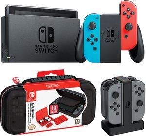 Nintendo Switch (Neon Joy-Con) + New Super Mario Bros. U Deluxe + Mario Tennis Aces