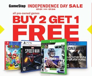 GameStop Sale: Buy 2, Get 1 Free Pre-Owned (Games and Accessories)